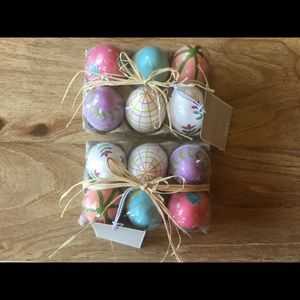 12 Pier 1 Hand Painted Decorative Wood Eggs New